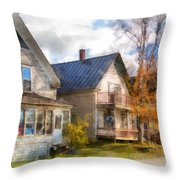 Row Of Houses Hardwick Vermont Watercolor Throw Pillow
