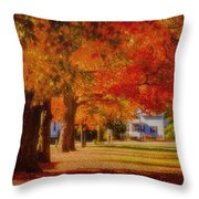 Row Of Maples Throw Pillow