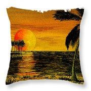 Row Of Palm Trees Throw Pillow