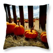 Row Of Pumpkins Sitting Throw Pillow