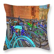 Row Of Student Bikes At Princeton University Nj Throw Pillow