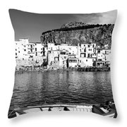 Rowboat Along An Idyllic Sicilian Village. Throw Pillow