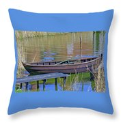 Rowboat And Blue Reflections Throw Pillow