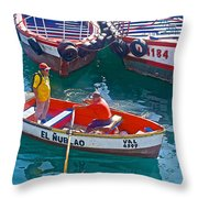 Rowboat In The Harbor At Port Of Valpaparaiso-chile Throw Pillow