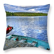Rowboats On Lake At Dusk Throw Pillow by Elena Elisseeva