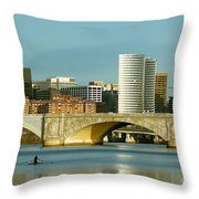 Rower On The Potomac River I Throw Pillow