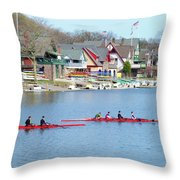 Rowing Along The Schuylkill River Throw Pillow