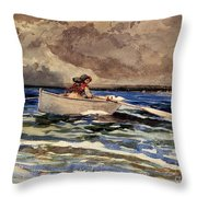 Rowing At Prouts Neck Throw Pillow