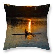Rowing At Sunset 2 Throw Pillow