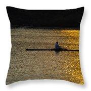 Rowing At Sunset Throw Pillow