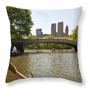 Rowing In Central Park Throw Pillow