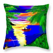 Rowing On The Sunset Throw Pillow