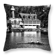 Rowing Past Turtle Rock Light House In Black And White Throw Pillow