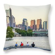 Rowing The Schuylkill - Philadelphia Cityscape Throw Pillow