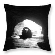 Rowing Through Cave Tam Coc Vietnam Throw Pillow