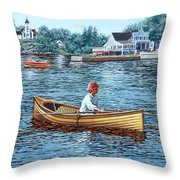 Rowing To Rockport Throw Pillow