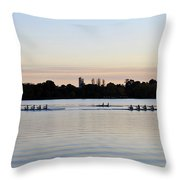 Rowing Under A Pastel Sky Throw Pillow