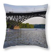 Rowing Under The Strawberry Mansion Bridge Throw Pillow by Bill Cannon