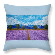 Rows Of Lavender In Provence Throw Pillow