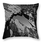 Royal Arch Trail Arch Boulder Colorado Black And White Throw Pillow