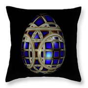Royal Blue Egg With White Enamel And Goldleaf Throw Pillow