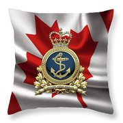 Royal Canadian Navy  -  R C N  Badge Over Canadian Flag Throw Pillow