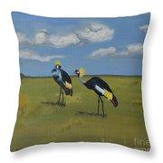Royal Cranes Throw Pillow