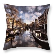 Royal Dutch Canals Throw Pillow