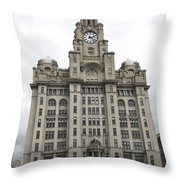 Royal Liver Building Liverpool Throw Pillow