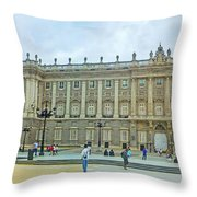Royal Palace In Madrid In A Beautiful Summer Day, Spain Throw Pillow