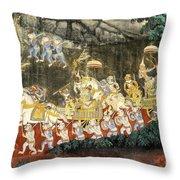 Royal Palace Ramayana 11 Throw Pillow