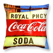 Royal Phcy Coke Sign Throw Pillow