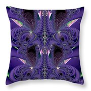 Royal Purple Backbone Fractal Abstract Throw Pillow