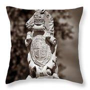 Royal Unicorn - Sepia Throw Pillow