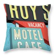Roy's Motel Cafe Pop Art Throw Pillow by Jim Zahniser