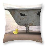 Rubber Ducky Bathtub Beach Surreal Throw Pillow