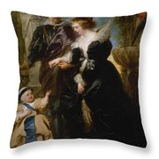 Rubens His Wife Helena Fourment 16141673 And Their Son Frans 16331678 Throw Pillow