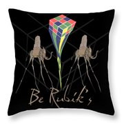 Rubik's Cube And Salvador Dali Elephants Throw Pillow