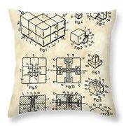 Rubik's Cube Patent 1983 - Vintage Throw Pillow