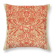 Rubino Red Floral Throw Pillow
