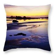 Ruby Beach Yellow Blue Throw Pillow