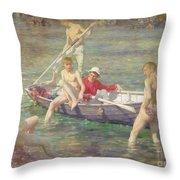 Ruby Gold And Malachite Throw Pillow