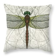 Ruby Meadowhawk Dragonfly Throw Pillow by Charles Harden