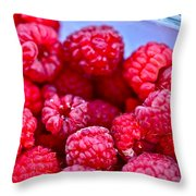 Ruby Raspberries Throw Pillow