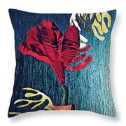 Ruby Red Flower Throw Pillow