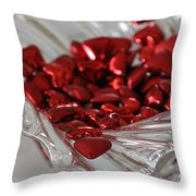 Ruby Red Hearts And Crystal Throw Pillow