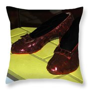 Ruby Slippers On The Yellow Brick Road Throw Pillow
