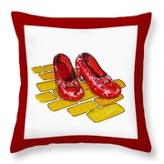 Ruby Slippers The Wizard Of Oz  Throw Pillow by Irina Sztukowski
