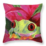 Ruby The Red Eyed Tree Frog Throw Pillow