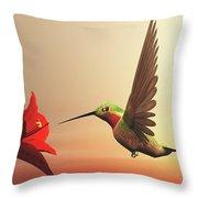 Ruby-throated Hummingbird - 3d Render Throw Pillow